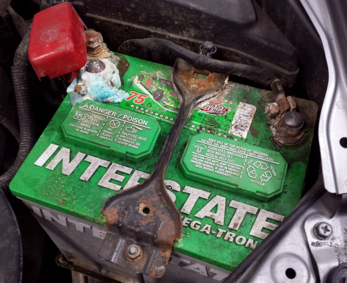 corrosive battery in car image